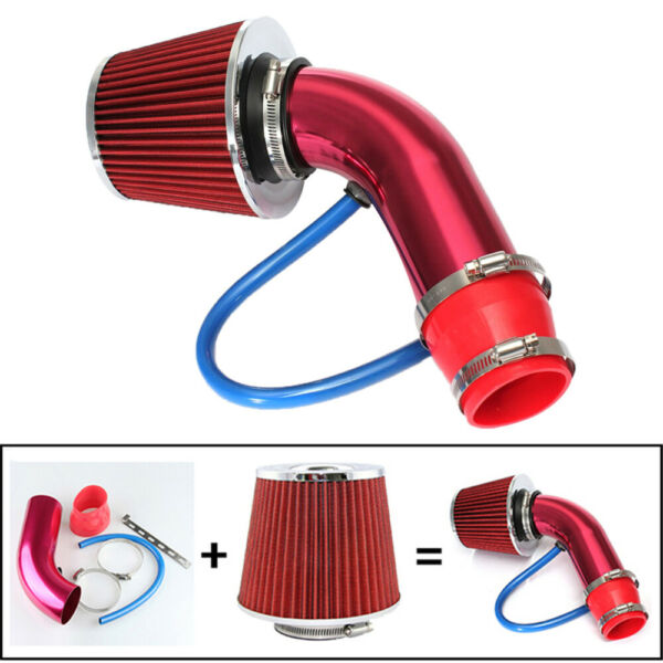 3 76mm Car Racing Cold Air Intake Filter Carbon Fiber Induction Hose Pipe USA