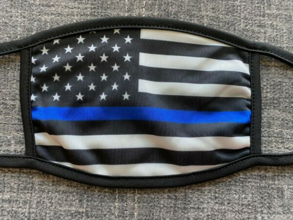 Police Blue Line Flag Face Covering Mask New in package Washable Easy to Breathe