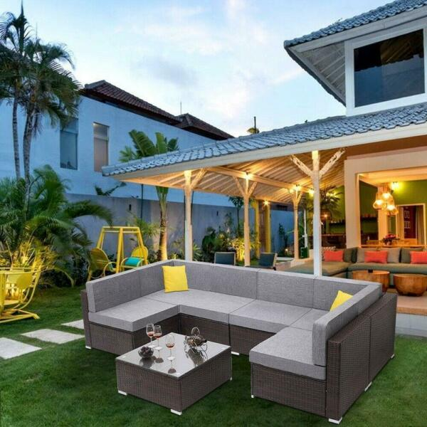 Oshion 7PC Outdoor Sectional Patio Furniture Sofa Set Rattan with Table Cushions $635.99