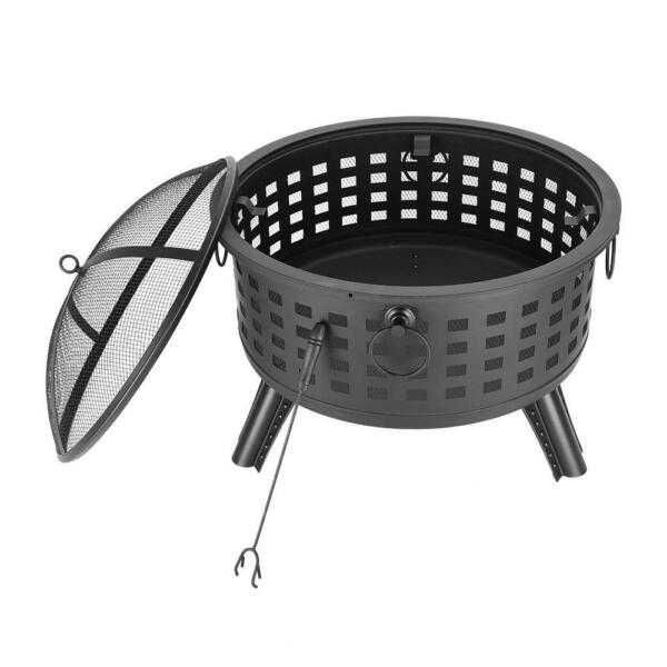 26 Inch Large Outdoor Fire Pit Wood Burning Backyard Steel Bowl Fireplace