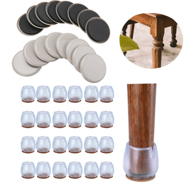24x Chair Leg Covers Furniture Protectors 16x Reusable Round Carpet Sliders Pad $11.43
