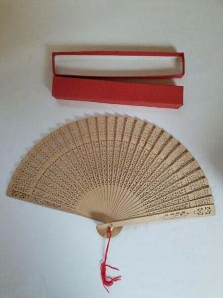 Vintage Folding Hand Held Carved Wood Fan with Original Packaging $7.95