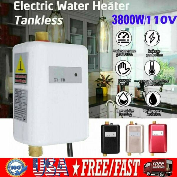 110V 3000W Electric Tankless Instant Hot Water Heater Shower Kitchen Tap Faucet $55.99