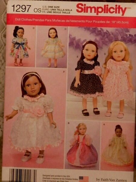 Uncut Simplicity 1297 Doll Clothes Pattern for 18