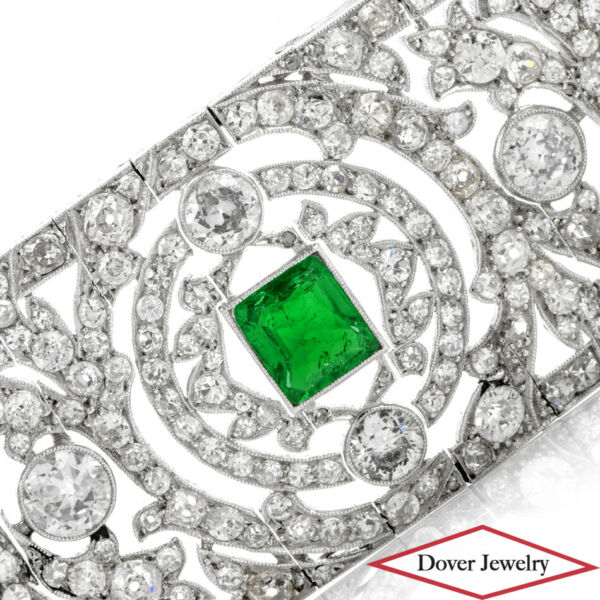 Vintage Deco Diamond 23.81ct Emerald Platinum Wide Filigree Bracelet 79.0 Grams