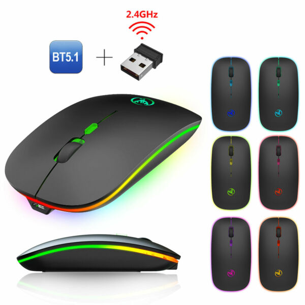 Bluetooth Rechargeable Dual Mode Wireless LED Backlit Gaming Mouse for PC Laptop