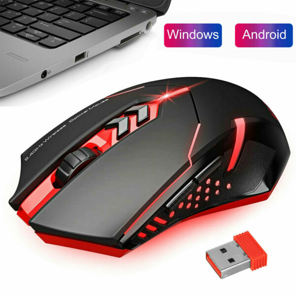 Rechargeable LED Wireless Gaming Mouse Mice 2400DPI Optical USB for PC Laptop