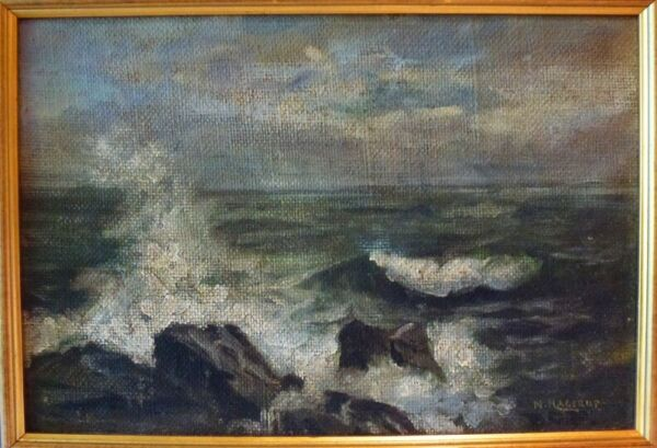 1893 OIL PAINTING-EARLY NELS HAGERUP - MARIN COUNTY - STINSON  SEASCAPE -LISTED