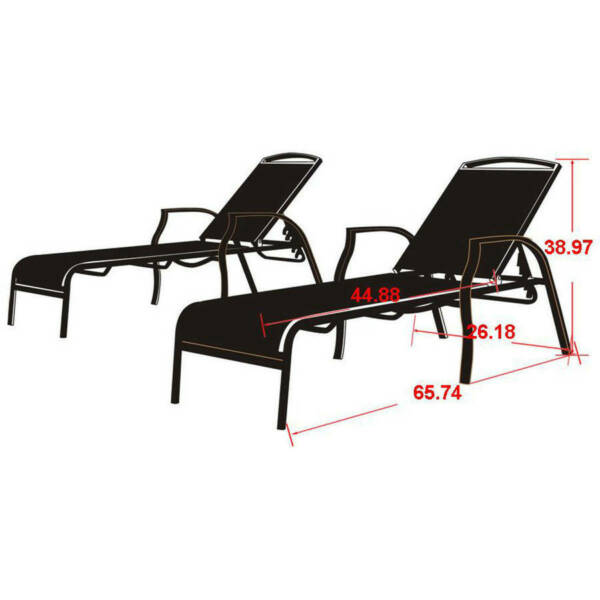 Set Of 2 Outdoor Chaise Lounges Tan Patio Yard Garden Pool Furniture NEW $316.37
