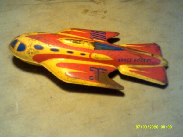 Vintage Automatic Toy Co Tin Friction Sparkling Rocket Space Rocket 306 $40.00