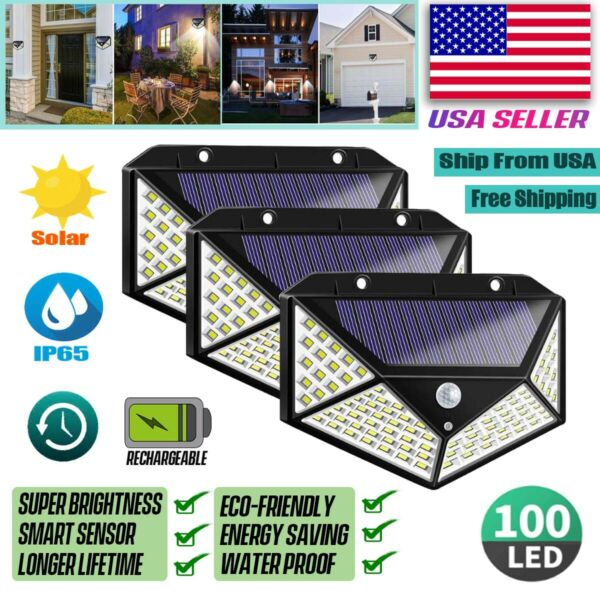 100 LED PIR Motion Sensor Wall Light Solar Power Waterproof Outdoor Garden Lamp $25.99