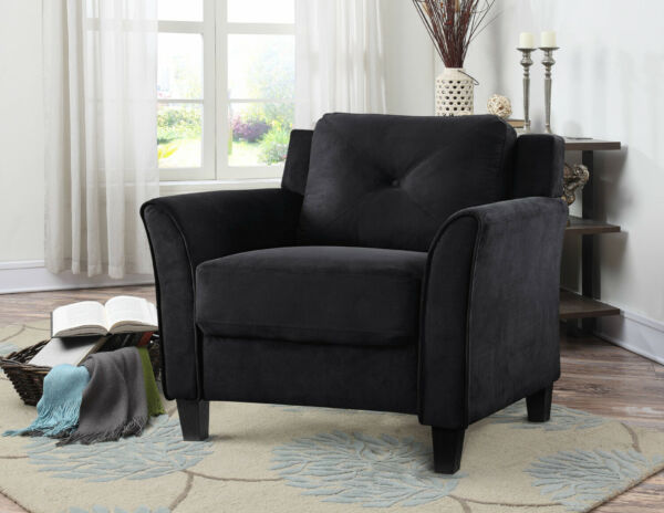 Black Fabric Finish Rolled Arm Chair Durable Home Living Room Furniture Seat