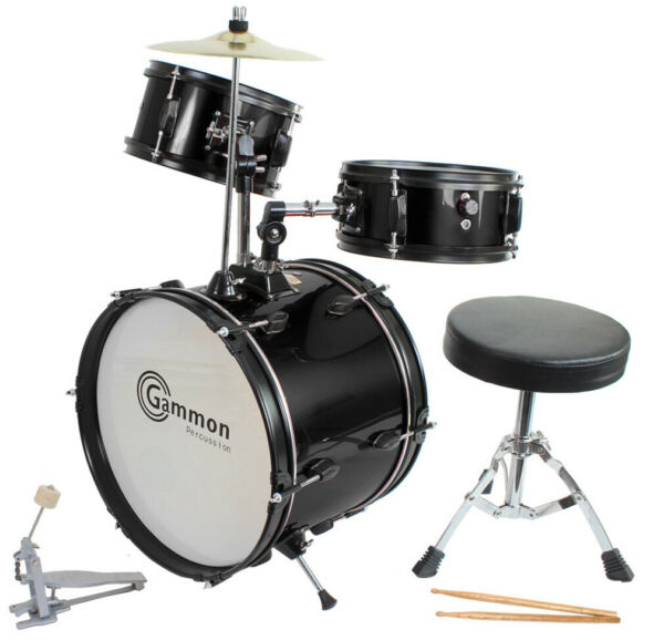 Junior Drum Set with Cymbals Stands Stool Sticks Complete Everything Included!