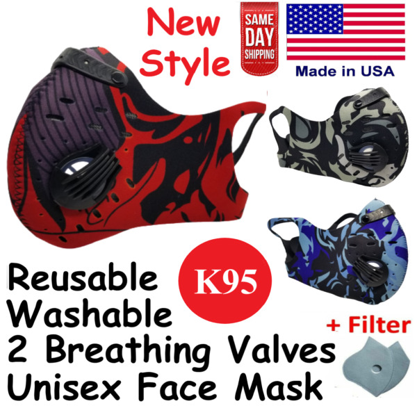 Reusable Washable Cycling Face Mask with Dual Exhaust Valves and Carbon Filter