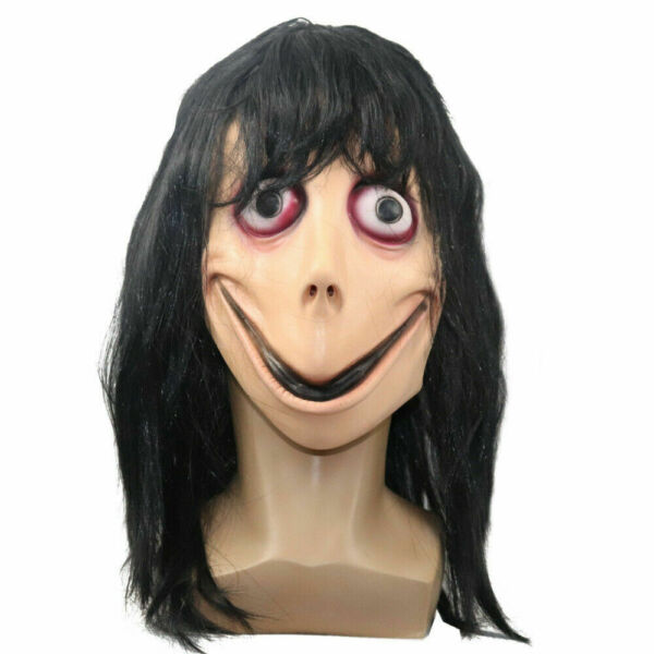 Momo Scary Mask Challenge Latex Horror Mask w Wig Hair Halloween Party Costume