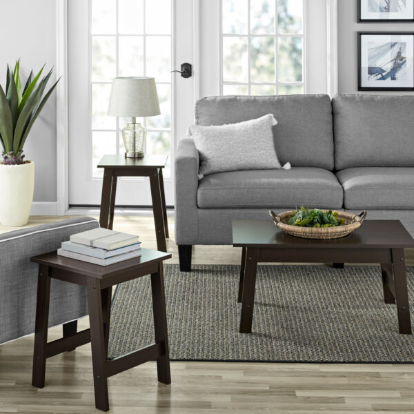 3 Piece Espresso Finish Coffee Table and End Table Set Living Room Furniture