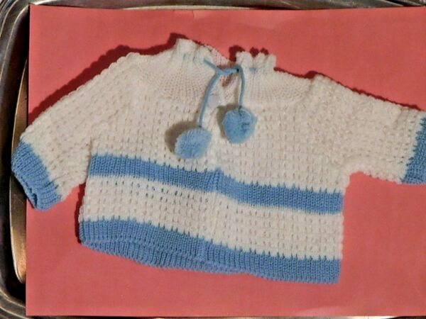 White & Blue Knit Sweater  for a 15