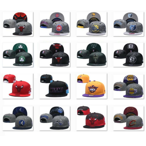 New Embroidered All Teams Logo Basketball Hat Flat Brim Adjustable Snapback Cap $12.99