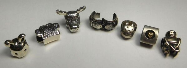Lot Of 7 Sterling Silver Pandora Charms- Animals Miscellaneous