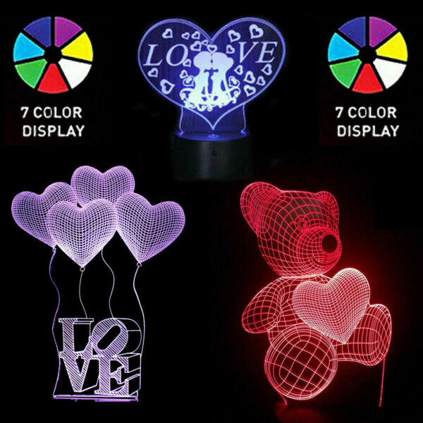 LED Light Gift For Her Girlfriend Wife Woman Mom Love Teddy Bear Decor Birthday $15.99