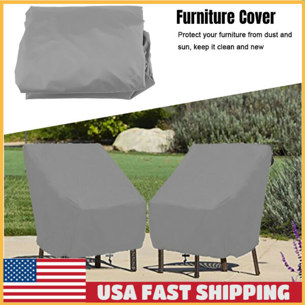 Waterproof Chair Cover High Gray Outdoor Patio Garden Furniture Storage Covers