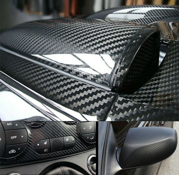 Black Carbon Fiber Car Wrap Vinyl Stickers Roll with Air Release Technology $17.45