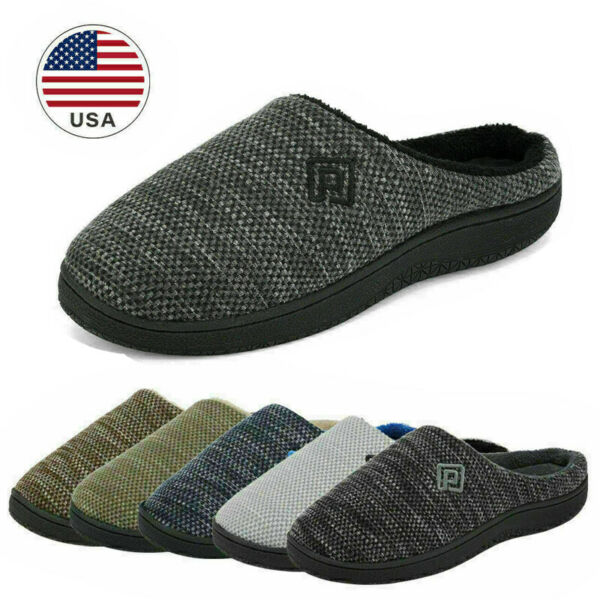 Men#x27;s Memory Foam Slippers Comfort Knitted Closed Toe Indoor Outdoor House Shoes
