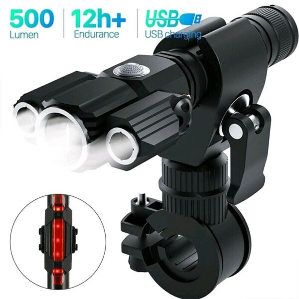 LED Mountain Bike Lights Rechargeable Lamp USB Bicycle Torch Front amp; Rear Set US $18.99