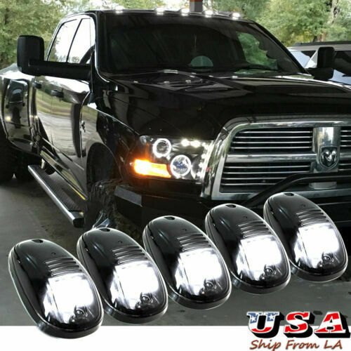 5pcs Smoked Lens Running Marker LED Lights Cab Rooftop for Trucks Pickup WHITE $34.35