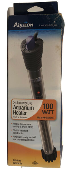 Aqueon Submersible Aquarium Heater 100w Up to 40 Gallons Fresh Saltwater New $14.99