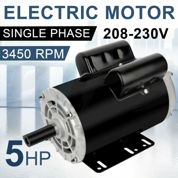 Air Compressor Electric Motor 5 HP Single Phase 3450 RPM 56HZ Frame 7 8quot; Shaft $204.96