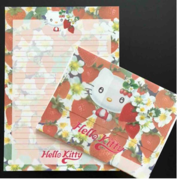 Sanrio Kitty Strawberry amp; Flower Motif Writing Letter Paper Set made in JAPAN