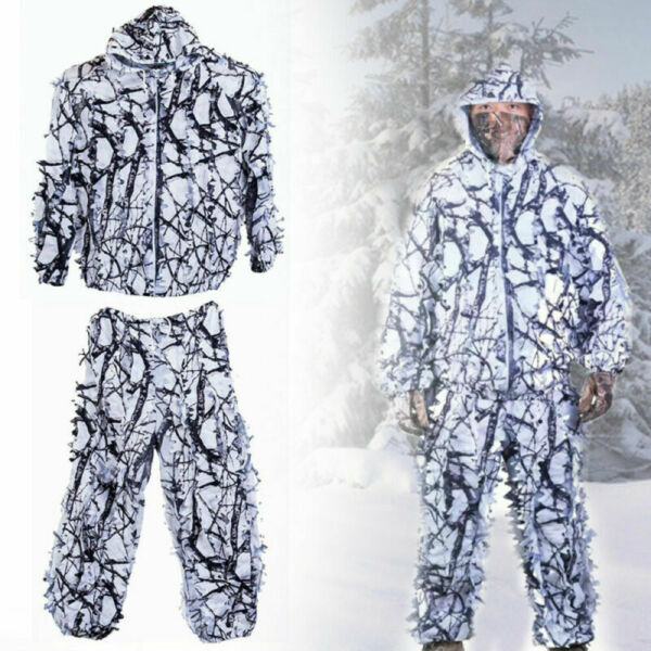 Winter Tactical Snow Camouflage Clothes White Camo Ghillie Suit for Hunting Hide