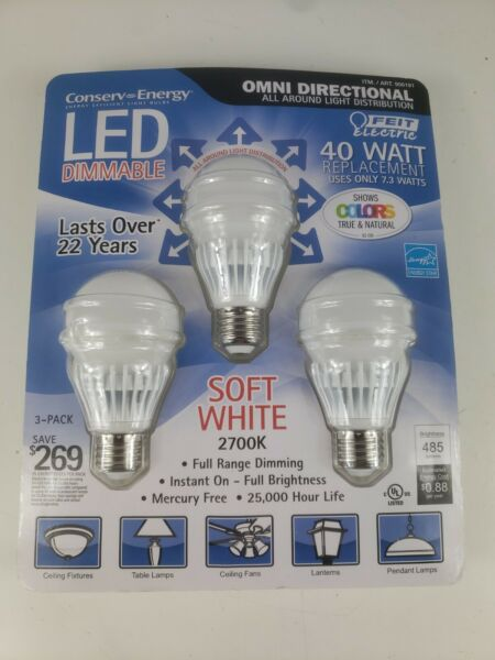 FEIT ELECTRIC 40WATT DIMMABLE LED LIGHT BULBS 3 PACK $20.00