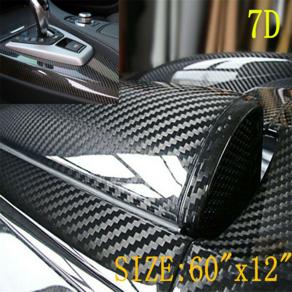 Carbon Fiber Car Wrap Vinyl Stickers Roll Black with Air Release Technology $13.49
