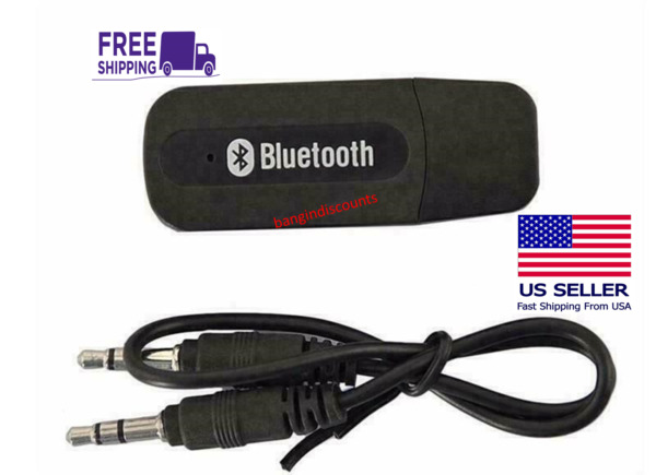 USB Bluetooth Music Stereo Wireless Audio Receiver Adapter 3.5mm Home Car PC AUX $2.99