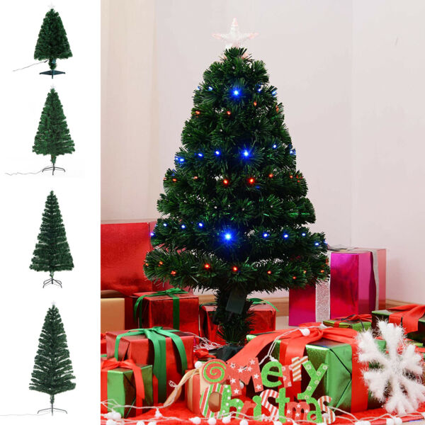 3 4 5 6 7ft Pre Lit Artificial Christmas Tree Led Lights Fiber Optic Decorations