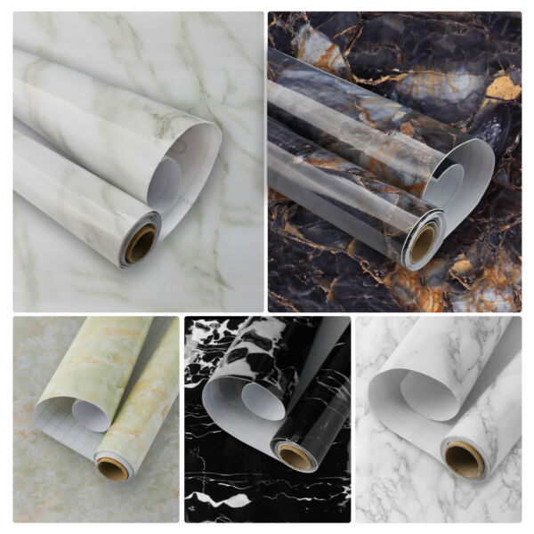 Marble PVC Paper Self Adhesive Peelamp;Stick Contact Wallpaper Bathroom Countertop