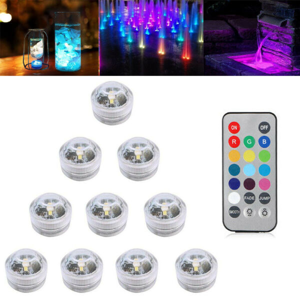 Underwater Submersible LED Light RGB Remote Control Battery Operated Waterproof