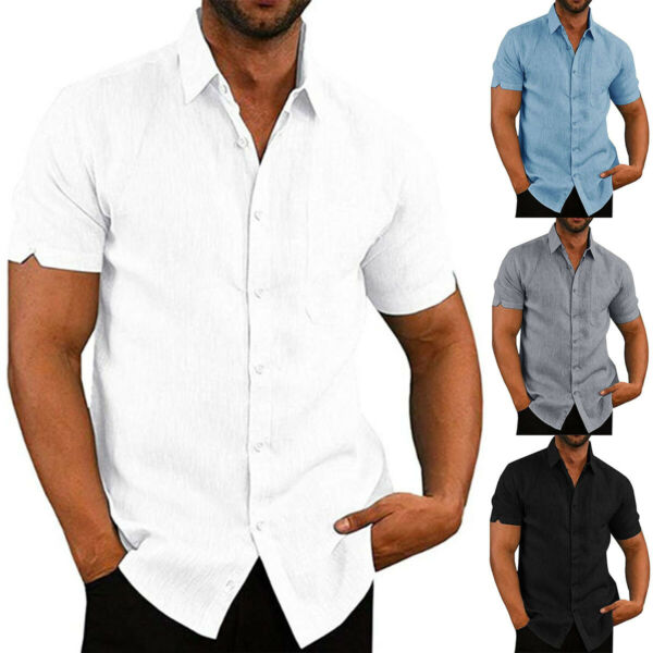 Mens Short Sleeve Button Down Shirts Summer Casual Beach Linen Blouse Tee Tops