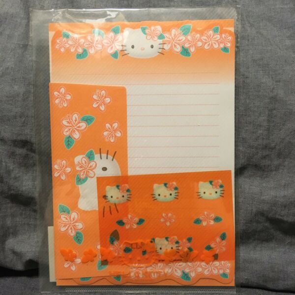 Sanrio Kitty Vintage 1999 Writing Letter Paper Set in Case Tropical Flower Motif