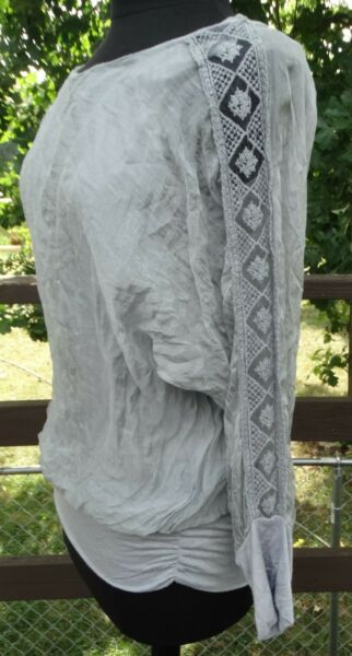 KEYSHA women#x27;s long sleeve top blouse MADE IN ITALY silk Large lace decor