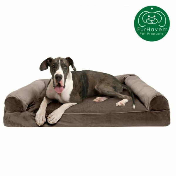 Furhaven Medium Faux Fur amp; Velvet Sofa Pet Bed Dark Sage 20quot; x 30quot; $29.00