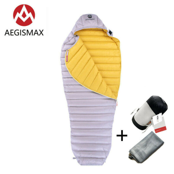 AEGISMAX Goose Down Sleeping Bag Mummy Ultralight Outdoor Camping Ultra Dry Grey $128.00