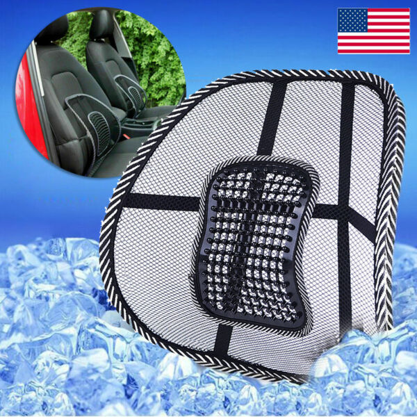 Cool Vent Cushion Mesh Back Lumbar Support Car Office Home Chair Seat Black US