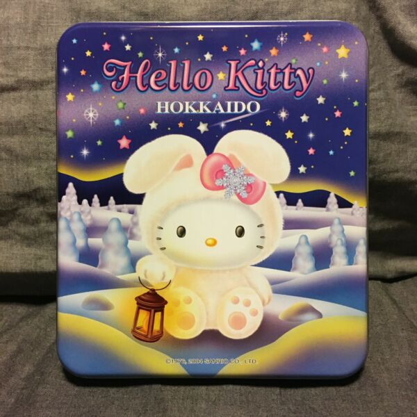 Sanrio Kitty Vintage 2004 Writing Letter Paper Set in Can Case Snow Rabbit Motif