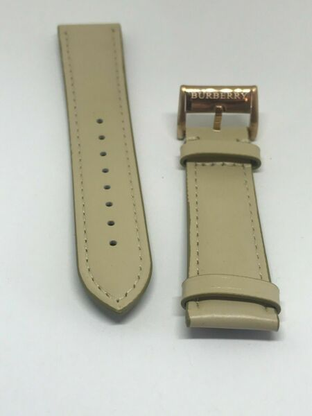 Burberry Genuine Leather Watch Strap Band Beige Rose Gold Clasp 20 mm B3 $23.99
