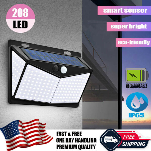 208 LED PIR Motion Sensor Solar Power Garden Light Outdoor Yard Lamp Waterproof