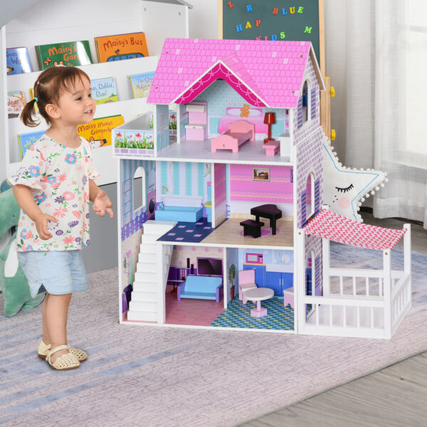 Multi Platform Children#x27;s Wooden Dollhouse with Patio and Furniture Pink
