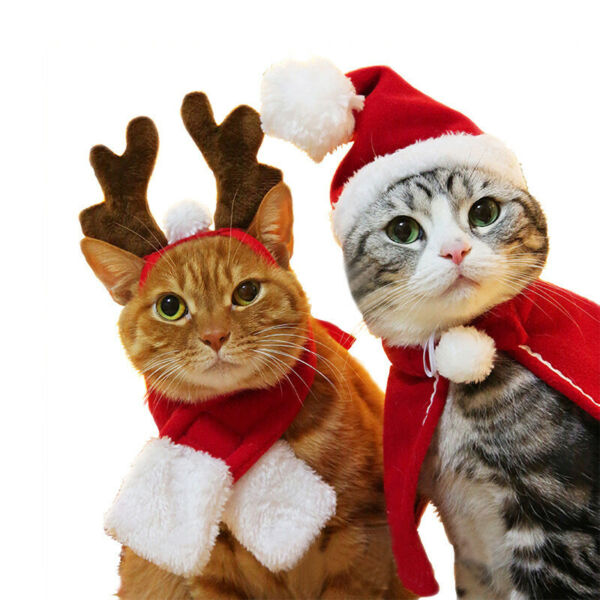 Santa Dogs Cats Xmas Costumes Outfits Scarf Hat Cloak Christmas Pet Clothes $2.34